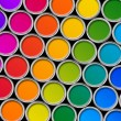 Color paint tin cans top view — Stock Photo