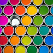 Color paint tin cans top view — Stock Photo #9324837