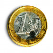 One euro coin in bad condition - Stock Photo