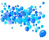 Blue balloons flying — Stock Photo