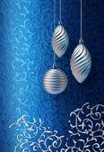 Blue Christmas brocade silver decoration — Stock Photo