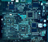 Motherboard components and circuits — Stock Photo