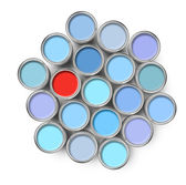 Different color paint tin can — Stock Photo
