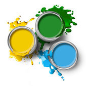 Green blue yellow color paints — Stock Photo