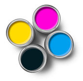 Cmyk color paint tin cans top — Stock Photo