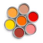 Warm color paint tin cans top — Stock Photo