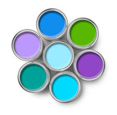 Paint cans cool colors palette — Stock Photo