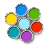 Color paint tin cans top — Stock Photo