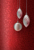 Red Christmas brocade silver decoration — Stock Photo