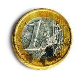 Moneda de un euro en mal estado — Foto de Stock