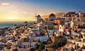 Evening in Oia Santorini — Stock Photo