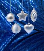 Silver blue Christmas decoration — Stock Photo