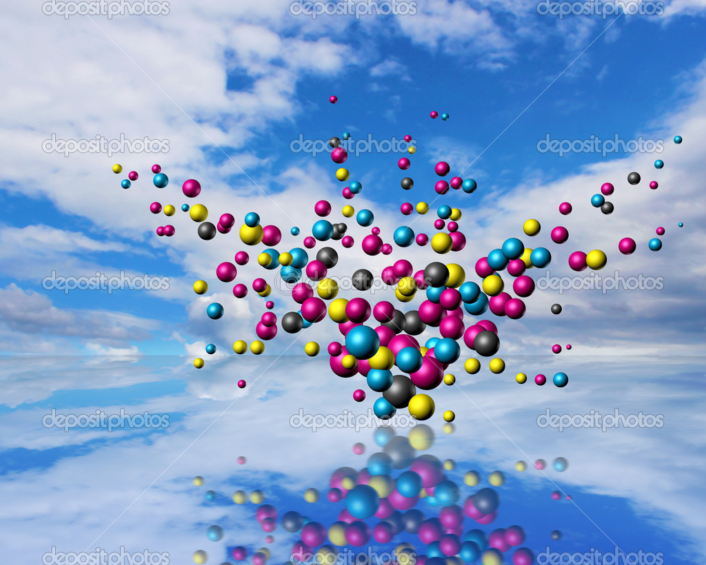 Cmyk particles explosion on cloudscape reflection surface — Stock Photo #9324375