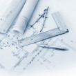 Construction plan tools — Stock Photo