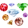 Diamonds set on white - Stock Photo