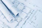 Construction plan blueprints — Stock Photo