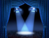 Blue spotlight beams premiere — Stock Photo
