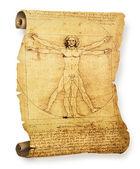Leonardo's Vitruvian Man old parchment — Stock Photo