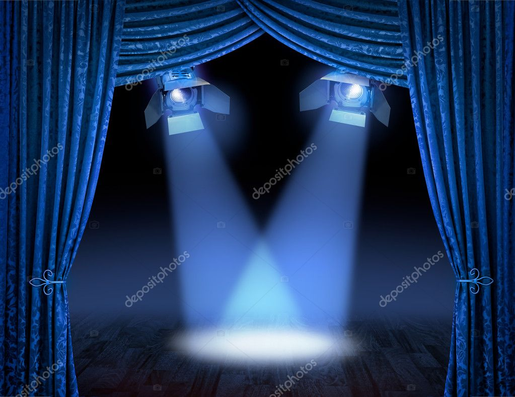 Blue theatre stage curtains with spotlights beams — Stock Photo #9337858