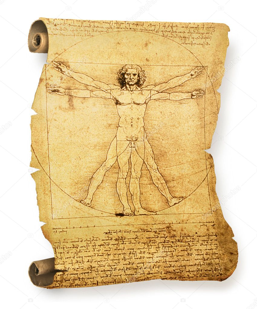 Leonardo's Vitruvian Man on an old parchment document roll — Stock Photo #9338057