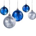 blauw zilver kerstballen — Stockfoto