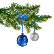 Stock Photo: Blue silver glass balls on Christmas tree