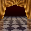 Golden curtains stage — Stock Photo