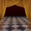 Golden curtains stage — Stock Photo #9352457