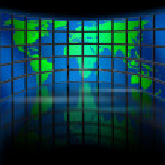 Multimedia monitor world — Stock Photo