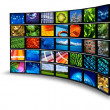 Multimedia monitor wall - Stock Photo