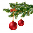 Two red glass balls on Christmas tree branch — Stock Photo