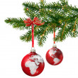World glass balls on Christmas tree — Stock Photo