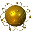 Golden atomium planet — Stock Photo