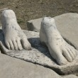 Stock Photo: Stone feet pedestal