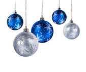 Blue silver christmas balls — Stock Photo