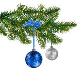 Blue silver glass balls on Christmas tree — Stock Photo