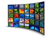 Multimedia monitor wall — Stock Photo