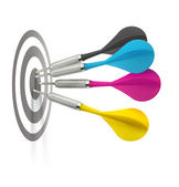 Cmyk darts hitting target — Stock Photo