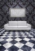 Modern sofa on marble floor — Stock Photo