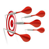 Only one dart hits the target — Stock Photo