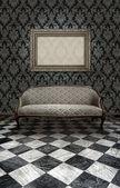 Classic sofa on marble floor — Stock Photo