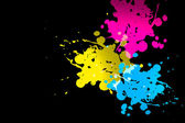 Cmyk color splatter — Stock Photo