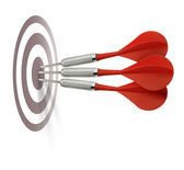 Three red darts hitting target — Stock Photo