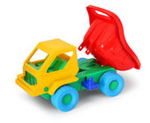 Colorful toy truck unload — Stock Photo