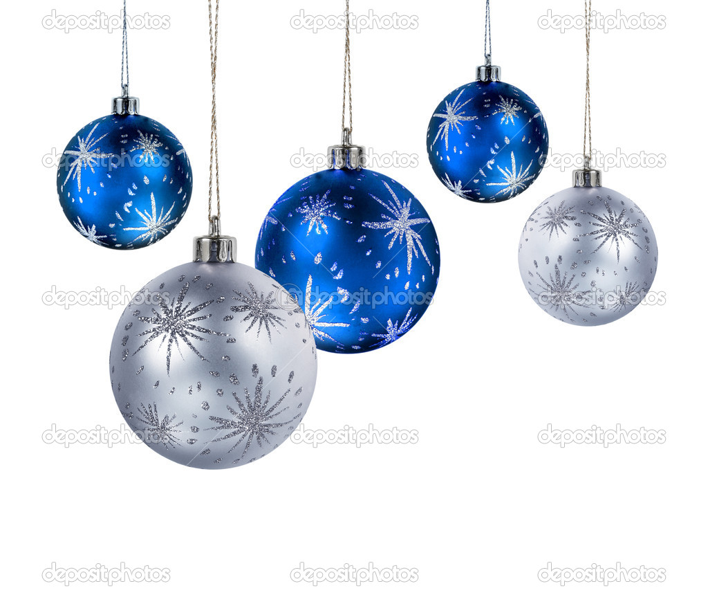 Blue and silver Christmas balls hanging isolated on white background — Stock Photo #9352268