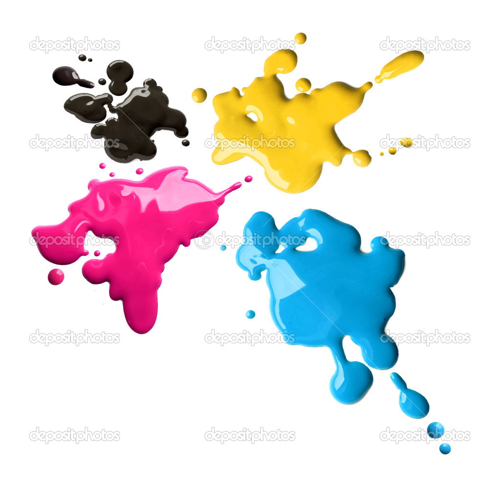 Splashes of four color printing inks cyan magenta yellow black — Stock Photo #9354700