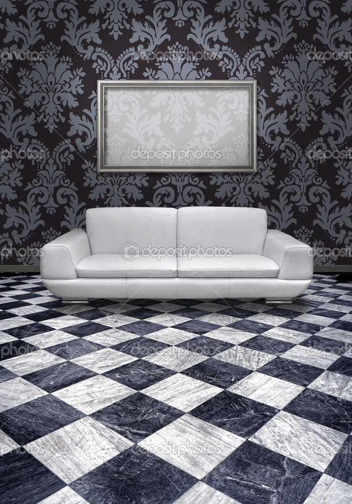 Salotto Moderno Con Divani In Pelle Bianco E Nero Interior Design ...