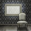 Stock Photo: Classic chair and silver frame