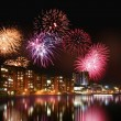 Stock Photo: Fireworks by the water