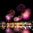 Fireworks over city by the water — Stock Photo